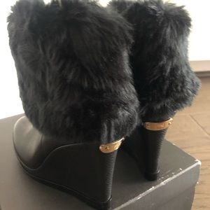 Vince Camuto faux fur wedge boots